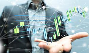 立体效果的股市阴阳线图表创意图片
