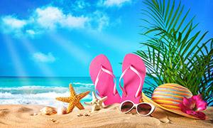 海边沙滩上的凉鞋等物摄影高清图片