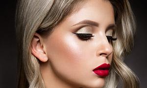 紅唇金發性感美女模特攝影高清圖片
