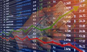 股市漲跌走勢圖表創意攝影高清圖片
