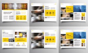 黃色主色調的公司畫冊模板矢量素材
