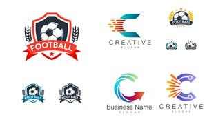 足球与箭头等元素创意标志矢量素材