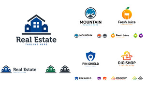房子与山峰等元素标志创意矢量素材