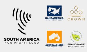 美洲地图与手势等创意标志矢量素材