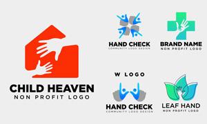 人物手势元素标志创意设计矢量素材