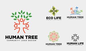 人形树木元素标志设计创意矢量素材