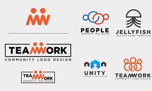 团队合作主题标志创意设计矢量素材