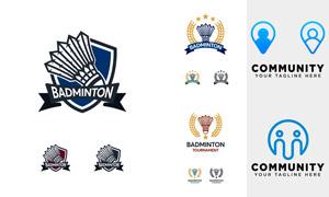 羽毛球俱乐部会徽标志设计矢量素材