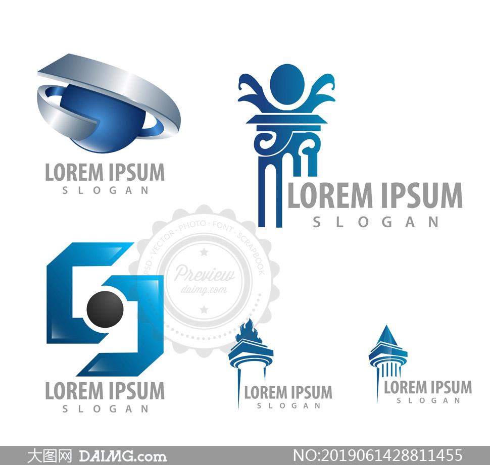 蓝色立体图案与建筑等标志矢量素材
