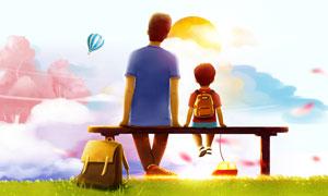 创意的父亲节主题海报设计PSD素材