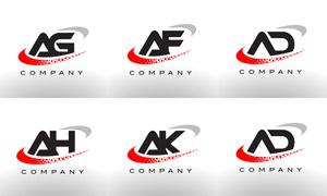 字母组合创意标志设计矢量素材集V02