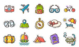 旅行度假周边图标创意设计矢量素材