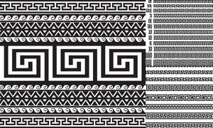 黑白效果左右连续无缝花边矢量素材