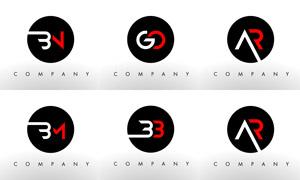 字母组合创意标志设计矢量素材集V06
