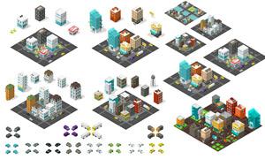 房屋建造城市规划等距模型矢量素材