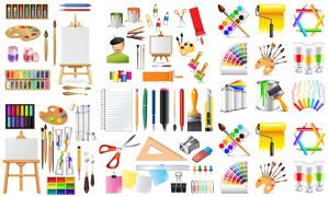 颜料桶画笔等绘画工具主题矢量素材