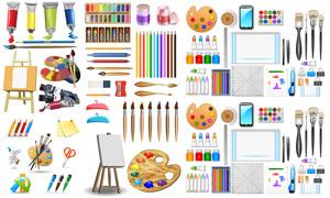 调色板与铅笔文具绘画周边矢量素材