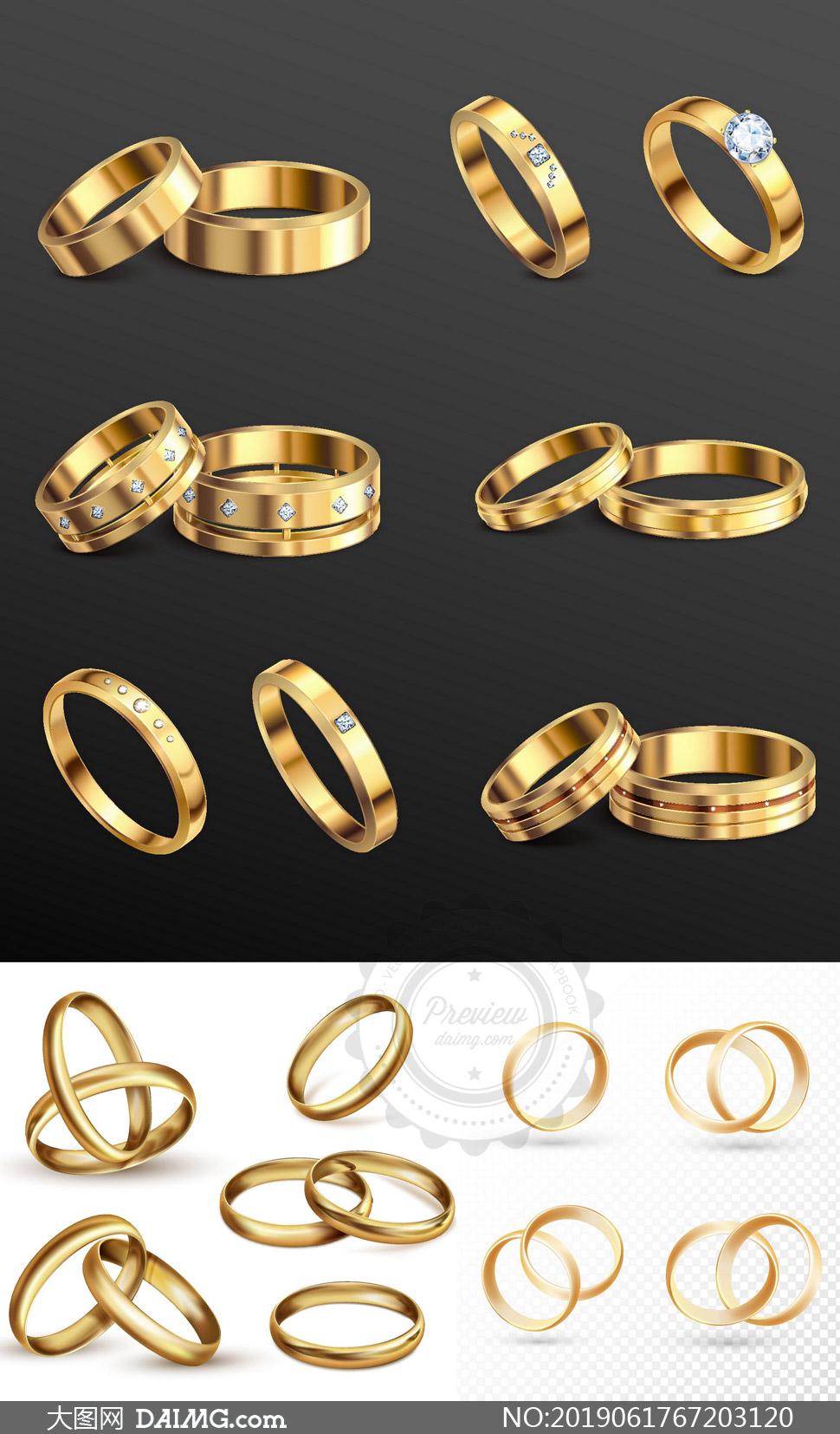 立體質感金色結婚戒指主題矢量素材