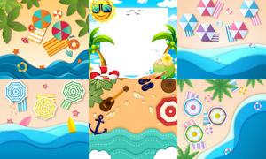 椰树与沙滩上的遮阳伞主题矢量素材