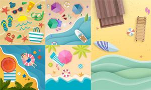 沙滩上的遮阳伞等夏日元素矢量素材