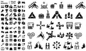 团队协作与商务类黑白图标矢量素材