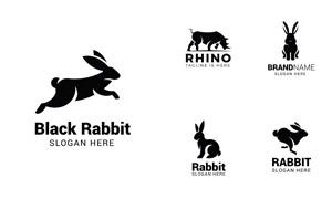 犀牛与姿态各异的兔子标志矢量素材