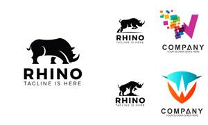 犀牛剪影与炫彩图案的标志矢量素材