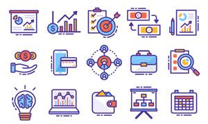 公司业绩增长创意图标设计矢量素材