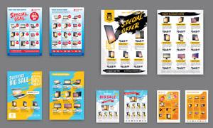 手机电脑数码宣传单页设计矢量素材