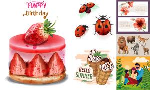 冰淇淋蛋糕與花朵瓢蟲創意矢量素材