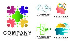 多彩配色抽象图形标志设计矢量素材