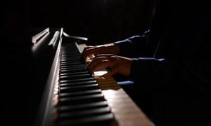 琴键上跳动的手指特写摄影高清图片