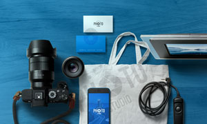 照相机手机与手提袋等物品样机模板
