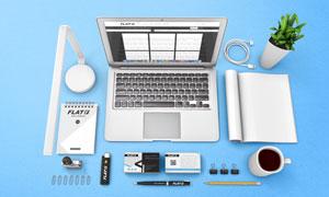 桌上电脑台灯名片与画册等样机模板
