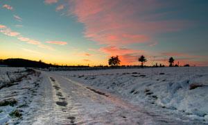 黄昏下的田园雪后美景摄影图片