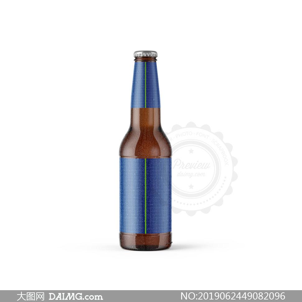 啤酒瓶瓶身标签贴纸贴图模板源文件