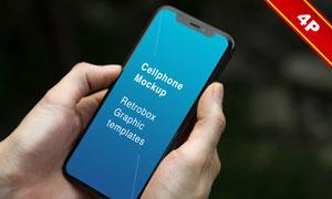 握在手中的手机屏幕内容贴图源文件