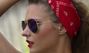 戴红色头巾的浓妆美女摄影高清原片