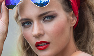戴头巾墨镜的红唇美女摄影高清原片