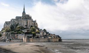 欧式海边城堡古建筑摄影图片