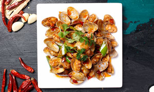 辣炒花蛤美食摄影图片
