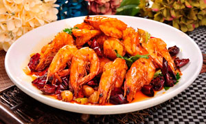 香辣基围虾餐饮美食摄影图片