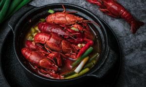 砂锅小龙虾美食摄影图片