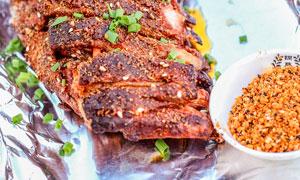 大漠烤羊排美食高清摄影图片