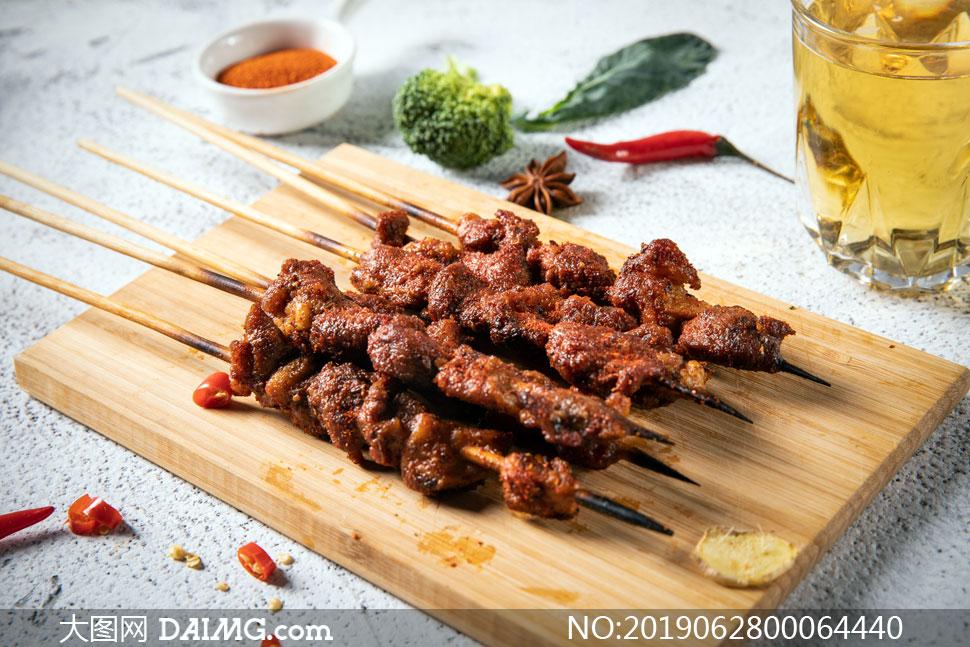 羊肉串美食攝影圖片
