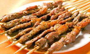 孜然羊肉串美食摄影图片