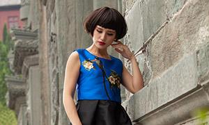 齐耳短发造型裙装美女写真摄影原片
