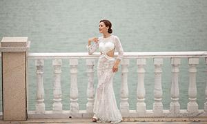 大桥上的曼妙身材美女婚纱摄影原片