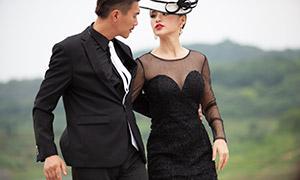 黑色服饰装扮情侣写真摄影高清原片