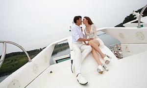 游艇情侣恋人婚纱写真摄影原片素材